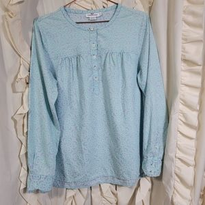 Vineyard Vines Half Button Up Patterned Shirt Top